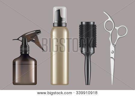 Hairdressing Tools. Haircut Hairstylist Barbershop Items Hair Dryer Scissors Shaving Machine Vector