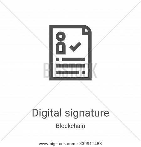 digital signature icon isolated on white background from blockchain collection. digital signature ic