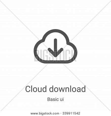 cloud download icon isolated on white background from basic ui collection. cloud download icon trend