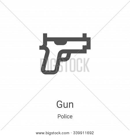 gun icon isolated on white background from police collection. gun icon trendy and modern gun symbol