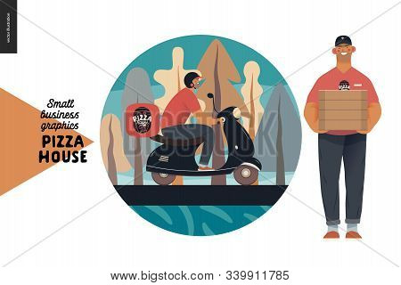 Pizza House - Small Business Graphics - Deliveryweb Icon. Modern Flat Vector Concept Illustrations -