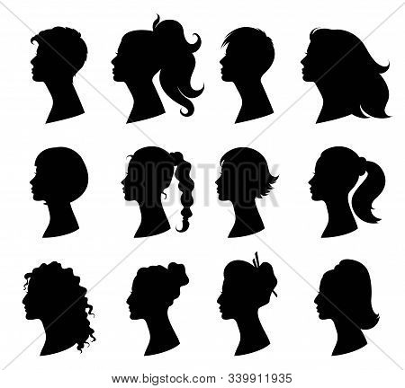 Hair Style Woman. Beautiful Girls With Variety Of Fashionable Hairstyles. Design Element For Beauty
