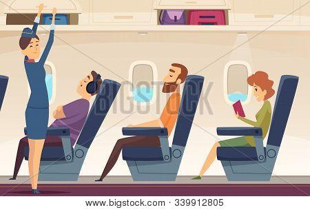 Passengers Airplane. Stewardess Avia Service Tourism Aviation Vector Cartoon Background. Stewardess