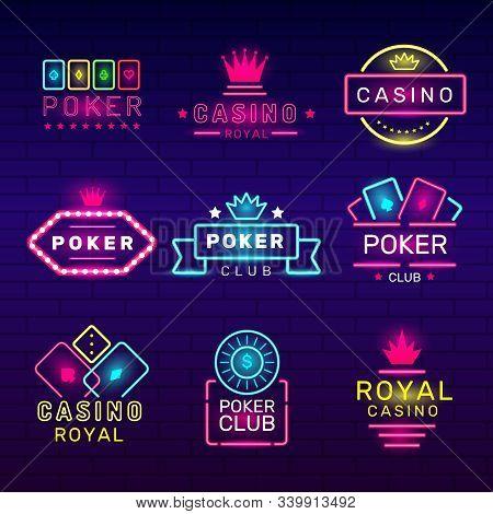 Poker Club Neon Badges. Casino Game Stamps Light Logos Nightclub Vector Collection. Illustration Gam