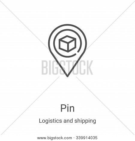 pin icon isolated on white background from logistics and shipping collection. pin icon trendy and mo
