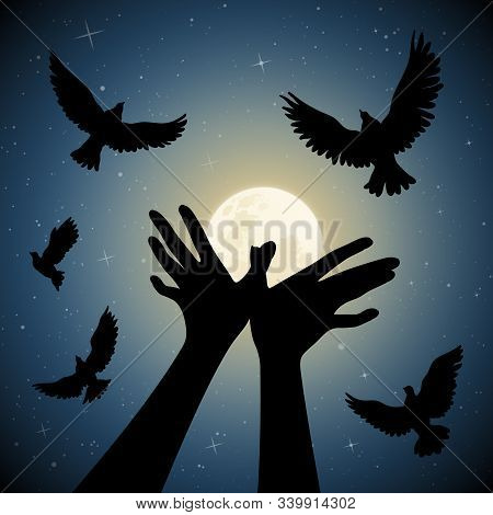 Bird Shaped Hands On Moonlit Night. Romantic Vector Illustration With Hand Gesture Silhouette And Fl