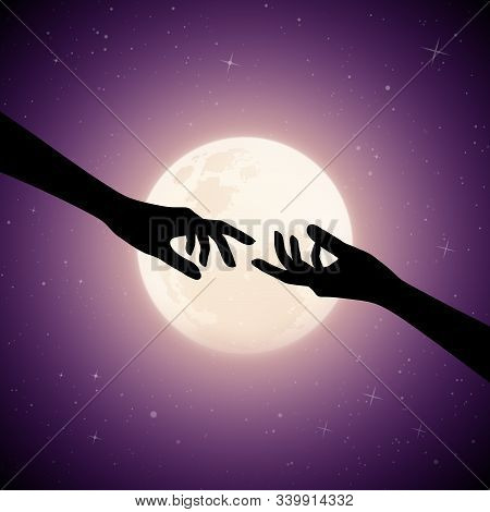 Reaching Hands On Moonlit Night. Romantic Vector Illustration With Hand Gesture Silhouette On Starry