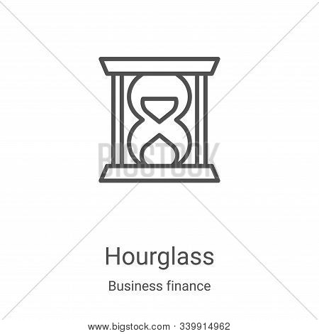 hourglass icon isolated on white background from business finance collection. hourglass icon trendy