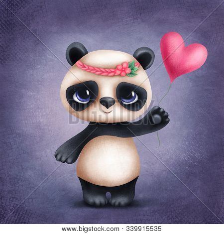 Cute panda bear on a violet background.