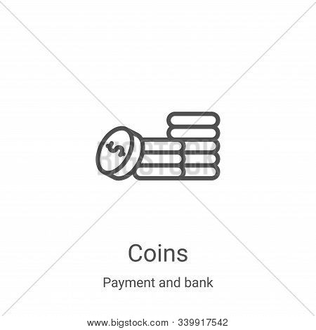 coins icon isolated on white background from payment and bank collection. coins icon trendy and mode