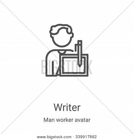 writer icon isolated on white background from man worker avatar collection. writer icon trendy and m