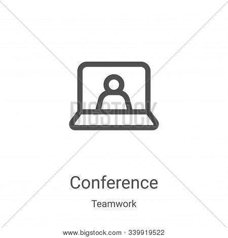 conference icon isolated on white background from teamwork collection. conference icon trendy and mo