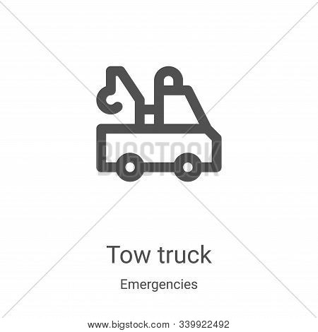 tow truck icon isolated on white background from emergencies collection. tow truck icon trendy and m