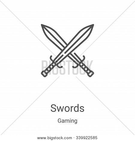 swords icon isolated on white background from gaming collection. swords icon trendy and modern sword