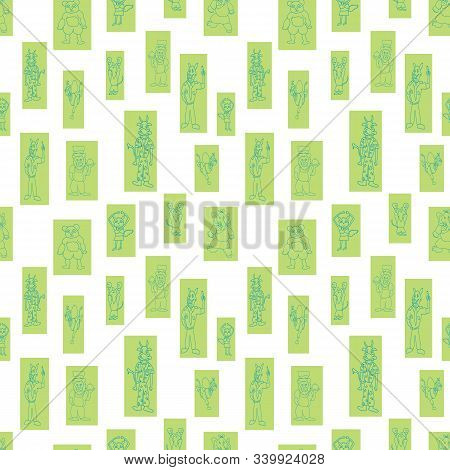 Vector White Anthropomorphic Characters In Fun Rectanglar Shapes Seamless Pattern Background