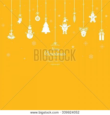 Christmas Greetings Ornament Elements Hanging In Yellow Background. Santa Claus, Christmas Tree, Bel