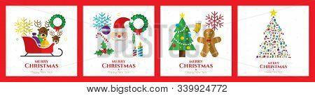 Santa Claus, Christmas Tree And Christmas Elements