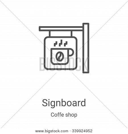 signboard icon isolated on white background from coffe shop collection. signboard icon trendy and mo