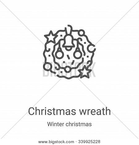 christmas wreath icon isolated on white background from winter christmas collection. christmas wreat