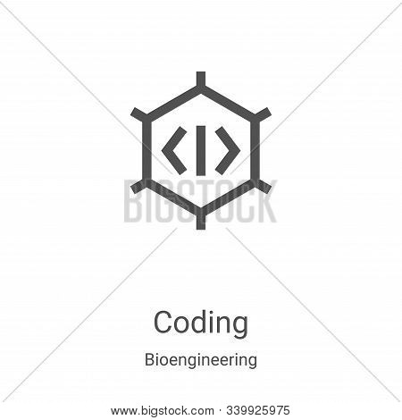 coding icon isolated on white background from bioengineering collection. coding icon trendy and mode