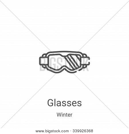 glasses icon isolated on white background from winter collection. glasses icon trendy and modern gla