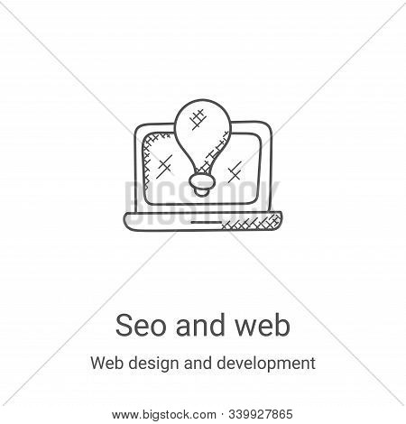 seo and web icon isolated on white background from web design and development collection. seo and we