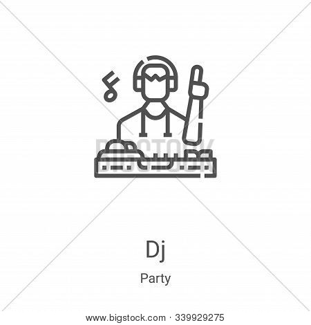 DJ icon isolated on white background from party collection. DJ icon trendy and modern DJ symbol for