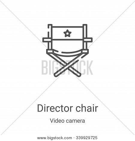 director chair icon isolated on white background from video camera collection. director chair icon t