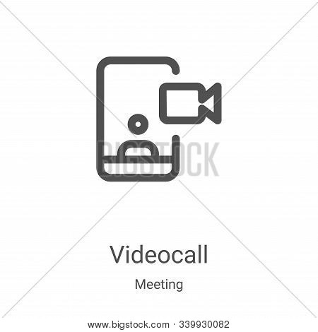 videocall icon isolated on white background from meeting collection. videocall icon trendy and moder