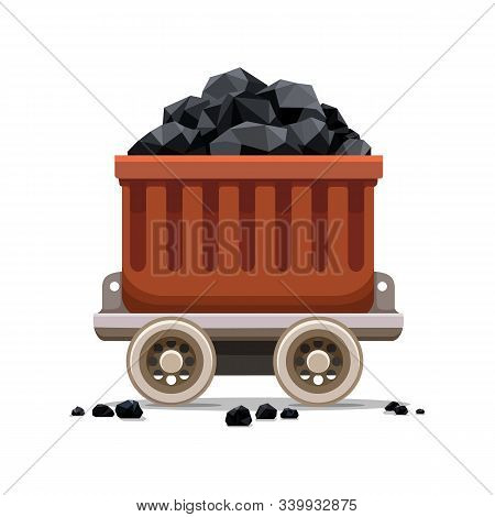 Mine Coal Trolley. Coal Loading Ship Cart, Underground Vehicle For Coals Load, Industrial Hand Trans