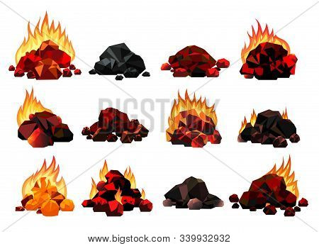 Burning Coal Set. Realistic Bright Flame Fire On Coals Heaps Closeup Vector Illustration For Grill B