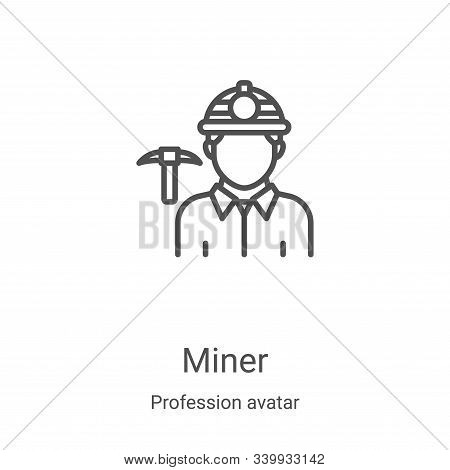miner icon isolated on white background from profession avatar collection. miner icon trendy and mod