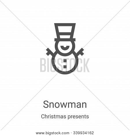 snowman icon isolated on white background from christmas presents collection. snowman icon trendy an