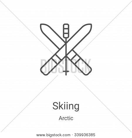 skiing icon isolated on white background from arctic collection. skiing icon trendy and modern skiin