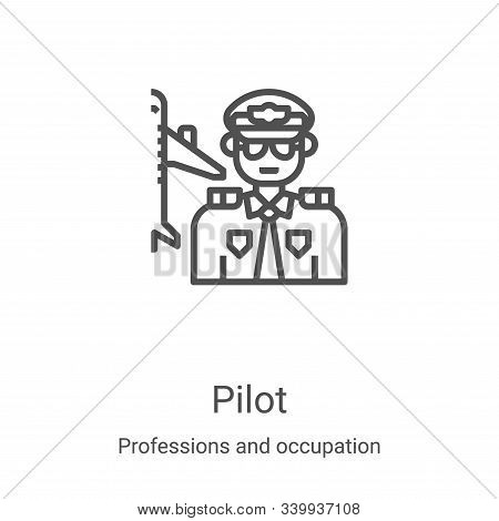 pilot icon isolated on white background from professions and occupation collection. pilot icon trend