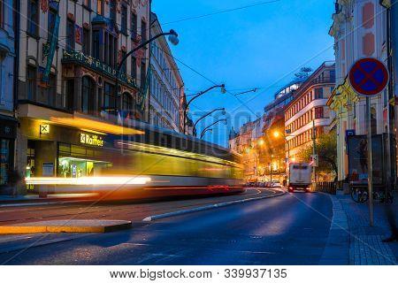 Prague, Czech Republic - November, 20, 2019: image of Prague night traffic