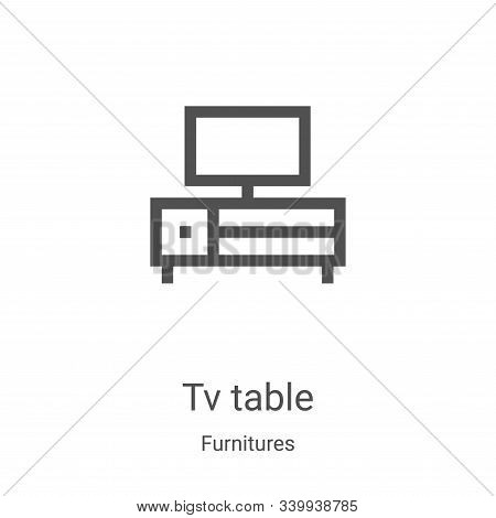 tv table icon isolated on white background from furnitures collection. tv table icon trendy and mode