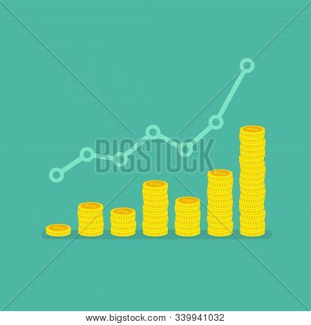 Nonlinear Growth Graph With Stacks Of Dollar Coins