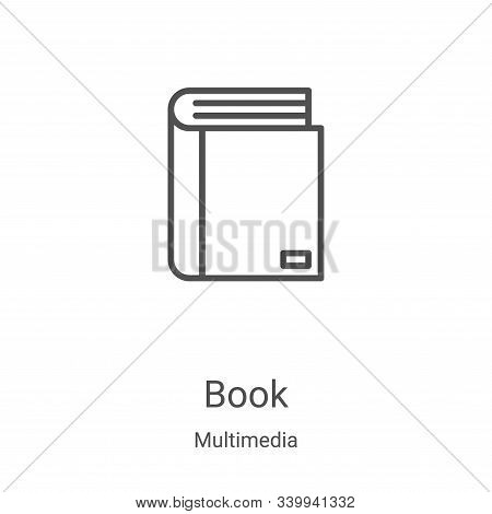 book icon isolated on white background from multimedia collection. book icon trendy and modern book