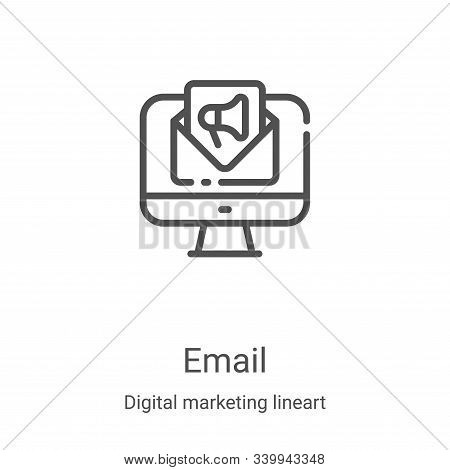 email icon isolated on white background from digital marketing lineart collection. email icon trendy
