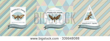 Three Colored Labels With Illustration Of Ambulyx Pryeri, Theretra Oldenlandiae Stock Illustration