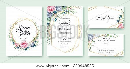 Wedding Invitation, Save The Date, Thank You, Rsvp Card Design Template. Queen Of Sweden Rose Flower