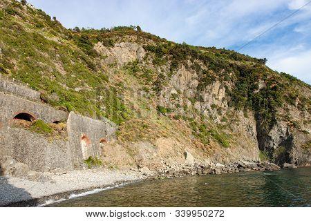 Rocky And Steep Coastline In Cinque Terre Italy