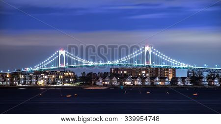 Claiborne Pell Bridge In Background  At Night In Newport Rhode Island