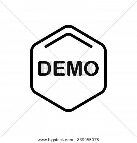 Black Line Icon For Demo Exhibition Demonstration