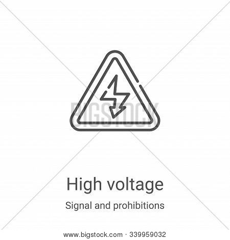 high voltage icon isolated on white background from signal and prohibitions collection. high voltage