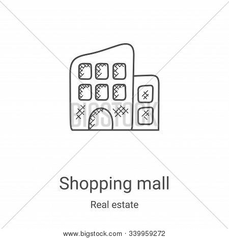 shopping mall icon isolated on white background from real estate collection. shopping mall icon tren