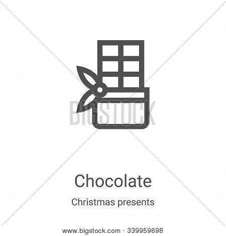 chocolate icon isolated on white background from christmas presents collection. chocolate icon trend