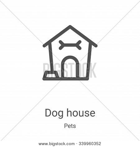 Dog house icon isolated on white background from pets collection. Dog house icon trendy and modern D