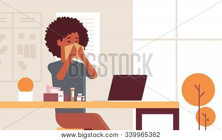 Sick Businesswoman Blowing Nose With Handkerchief African American Girl Sitting At Workplace Using L
